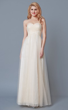 Empire Sweetheart Lace and Tulle Long Bridesmaid Dress