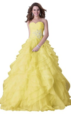 Dreaming Sweetheart Crystaled Ball Gown With Tiered Skirt