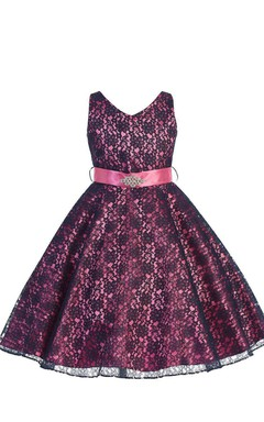 Sleeveless V-neck A-line Lace Dress With Sash
