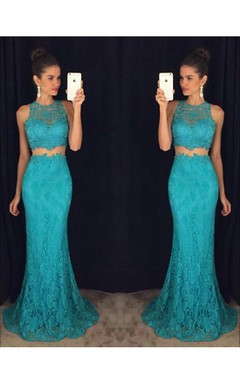 Delicate Mermaid Lace 2016 Prom Dress Two Piece