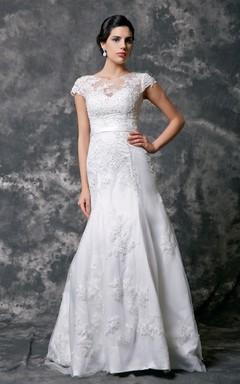 Cap Sleeve High Neck Beaded Lace Wedding Dress