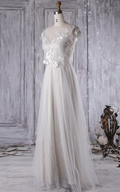 A-Line Floor-Length V-Neck Cap Sleeve Tulle Lace Dress With Illusion