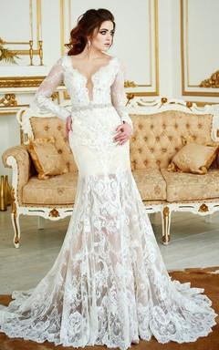 Deep-V-Neck Lace Illusion Long Sleeve Mermaid Beaded Wedding Dress With Skirt