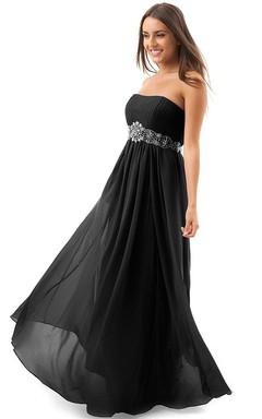 Strapless Empire Chiffon Dress With Beaded Waist