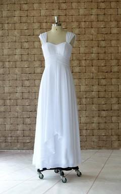 Ankle-Length Cap Sleeve Chiffon Dress