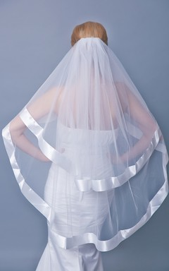 Two Tier Satin Trim Mid Length Veil