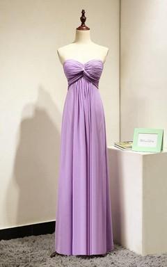 Lilac Sweetheart Long Bridesmaid Dress