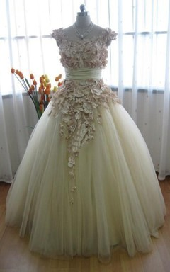 Tulle Satin Weddig Dress With Beading