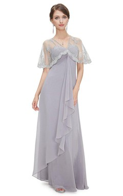 Flowing Chiffon Empire Long Dress With Lace Wrap