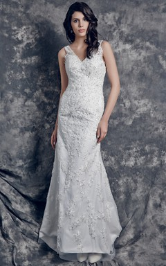 Charming Deep V-neck Lace-appliqued and Charmeuse Satin Dress