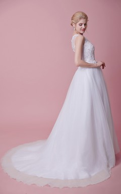 1900's Vintage-inspired Illusion Back Wedding Gown with Sweep Train