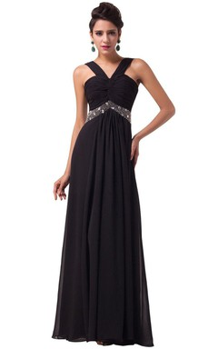 Sexy Sleeveless Chifofn Dress With Beaded Waist