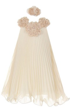Sleeveless A-line Dress With Flowers and Beadings