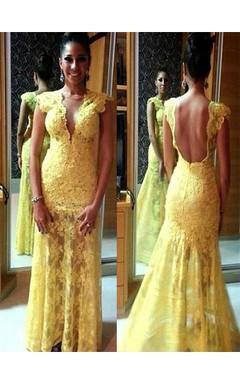 Sheath Column Short Sleeves V-neck Lace Floor-Length Dresses