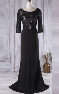 Long Chiffon&Lace Dress With Beading&Sequins