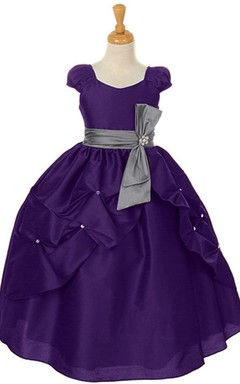 Short-sleeved A-line Ruffled Dress With Bow