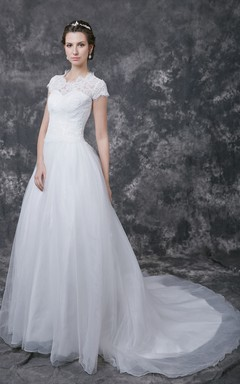 Fabulous Cap-sleeved Lace and Tulle Gown With Scooped Neckline