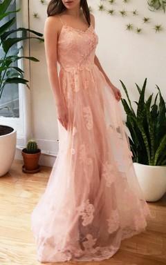 Romantic Pink Floral Lace Wedding Boho Garden Style Dress