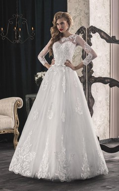 A-Line Long Sleeve Tulle Lace Dress With Bow Split Front Split Illusion