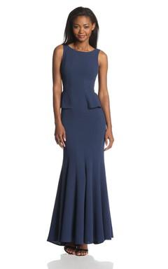 Modern Sleeveless Long Chiffon Dress With Peplum