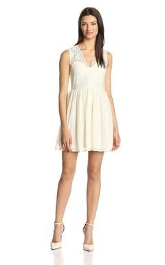 Sleeveless V-neck Short Dress With Lace Bodice