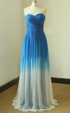 Royal Blue Ombre Tencel Weddin From Royal Blue To Ivory Color Dress