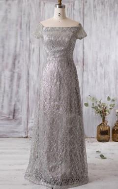 Off-the-shoulder Silver Mesh MOB Dress