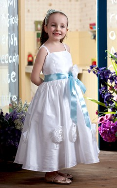Two-Tone Strapped Ankle-Length Flower Girl Dress With Ribbon