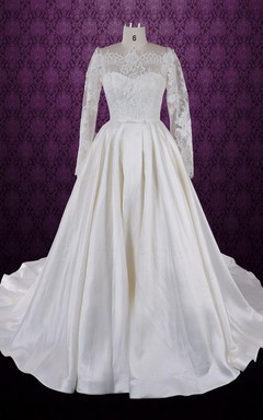 Bateau Neck Taffeta Weddig Dress With Long Lace Sleeves