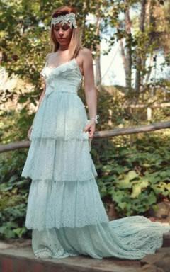 Spaghetti Tiered A-Line Boho Style Wedding Dress With Sweep Train