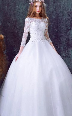 Romantic Tulle Lace Beadings Wedding Dress 2016 3/4-Long Sleeve Princess