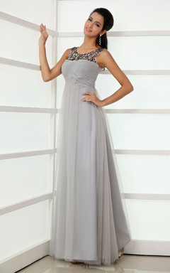 Empire A-Line Modest Scoop Neckline Tulle Gown With Crystal Detailing Top