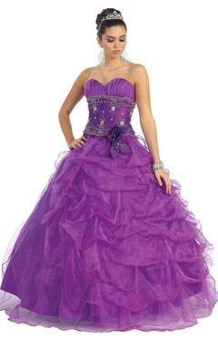 Lovely Sweetheart Skirt-ruffled Ball Gown With Jacket