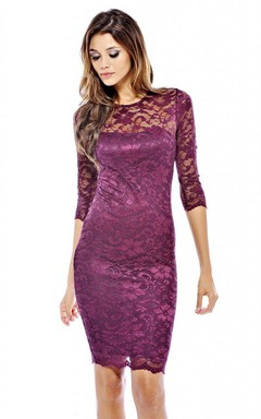 Jewel Neck Form Fitting Lace Short Dress With Long Sleeves