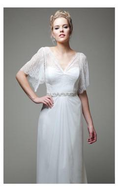 Boho Wedding Gown Soft Lace Bodice With Chiffon Skirt
