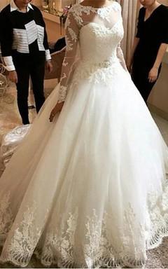 Elegant Tulle Lace Appliques Princess Wedding Dress 2016 Long Sleeve