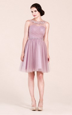 A-line High Neck  Short Tulle Bridesmaid Dress