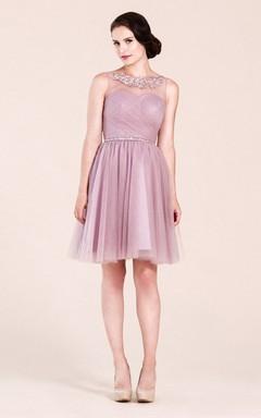A-line High Neck  Short Tulle Bridesmaid Dress