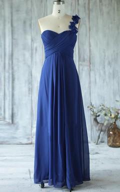 Floor-length One-shoulder Sweetheart Chiffon Dress