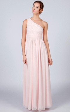 One-shoulder Floor-length Bridesmaid Dress