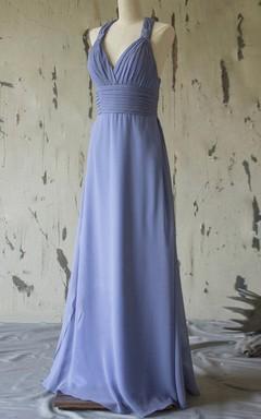 Maxi Halter Strapped V-neck Chiffon Dress