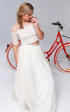 Illusion Off-The-Shoulder Lace Short Sleeve Two Piece Wedding Dress