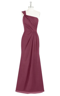 One-Shoulder A-Line Long Chiffon Dress With Ruching