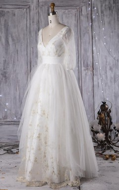Ball Gown Floor-Length V-Neck Tulle Lace Weddig Dress