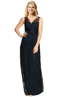 Column Lace Sleeveless Dress With Low-V Back And Illusion Lace Shoulder