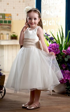 Square-Neck Sleeveless Tea-Length Flower Girl Dress With Ruched Waist