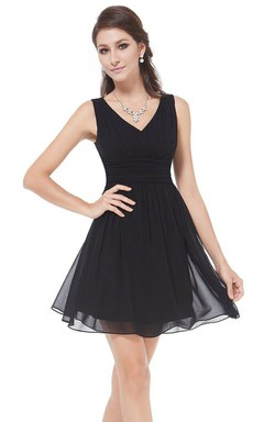 Sleeveless V-neck A-line Short Ruched Chiffon Dress
