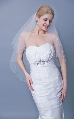Two Tier Beaded Trim Mid Veil With Sequins