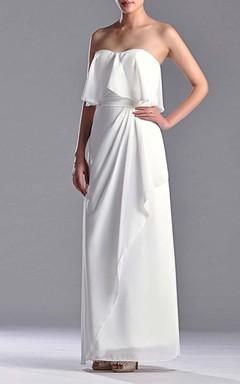 Sweetheart Sheath Chiffon Floor-length Dress With Side Draping