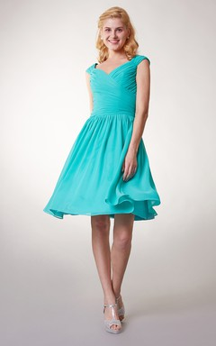 Cap Sleeve Chiffon Short Bridesmaid Dress with Ruching